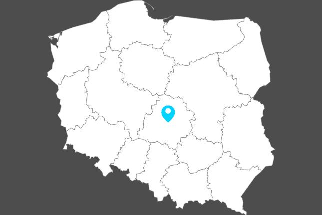 biała mapa polski z zaznaczonymi województwami i niebieskim znacznikiem